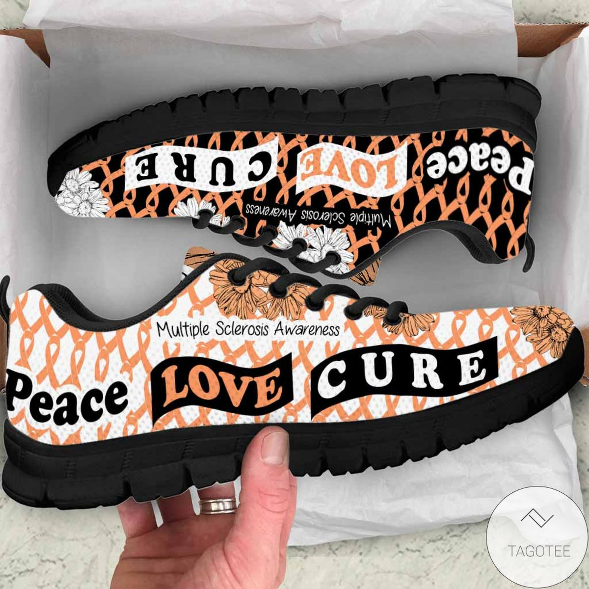Peace Love Cure Multiple Sclerosis Awareness Sneakers