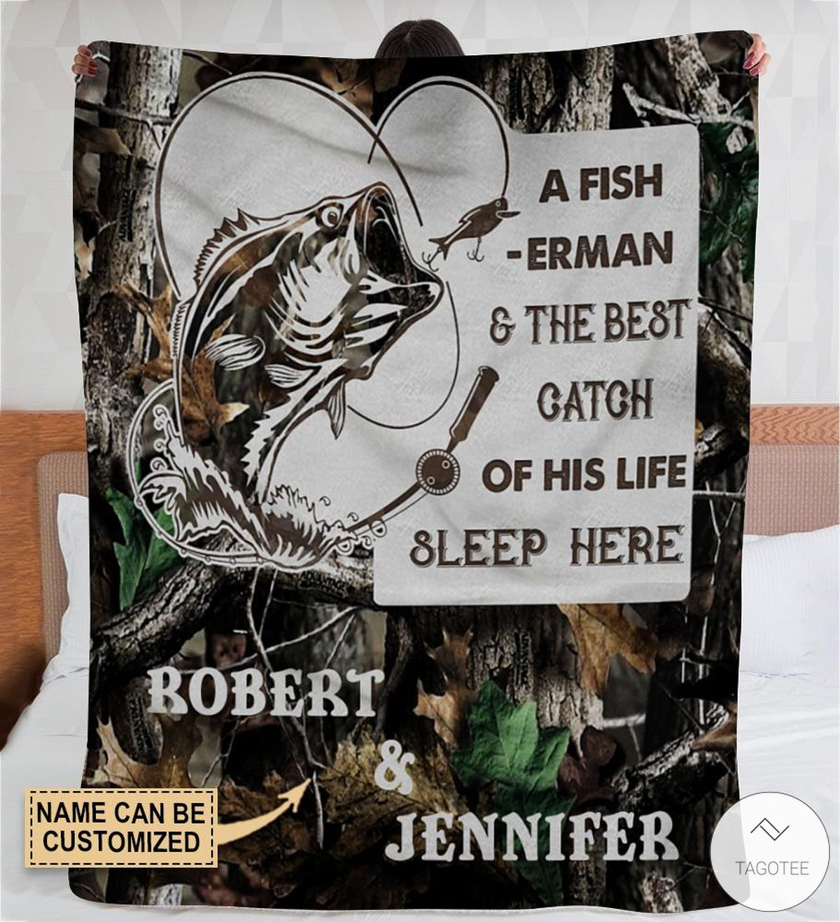 Personalized A Fisherman & The Best Catch Of His Life Sleep Here Fleece Blanket