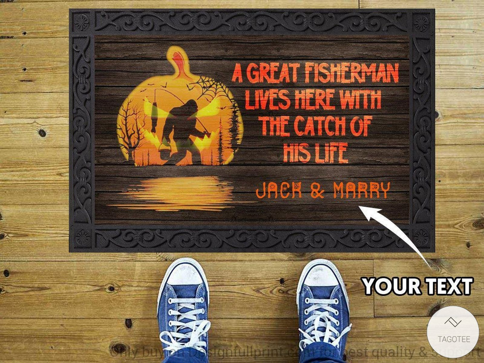 Personalized A Great Fisherman Lives Here With The Catch Of His Life Fishing Bigfoot Halloween Doormat