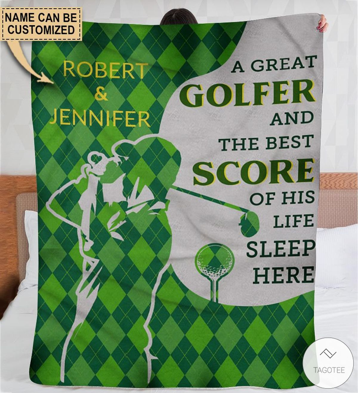 Personalized A Great Golfer And The Best Score Of His Life Sleep Here Fleece Blanket