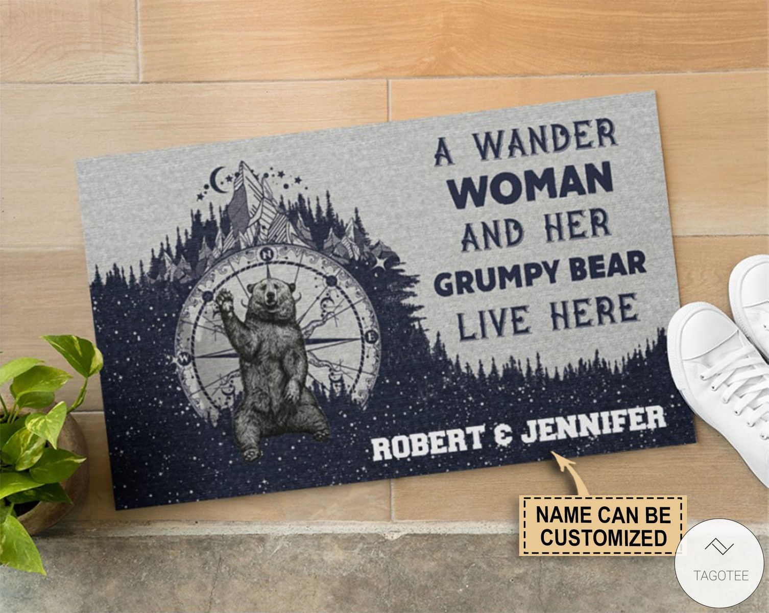 Personalized A wander woman and her grumpy bear live here doormat