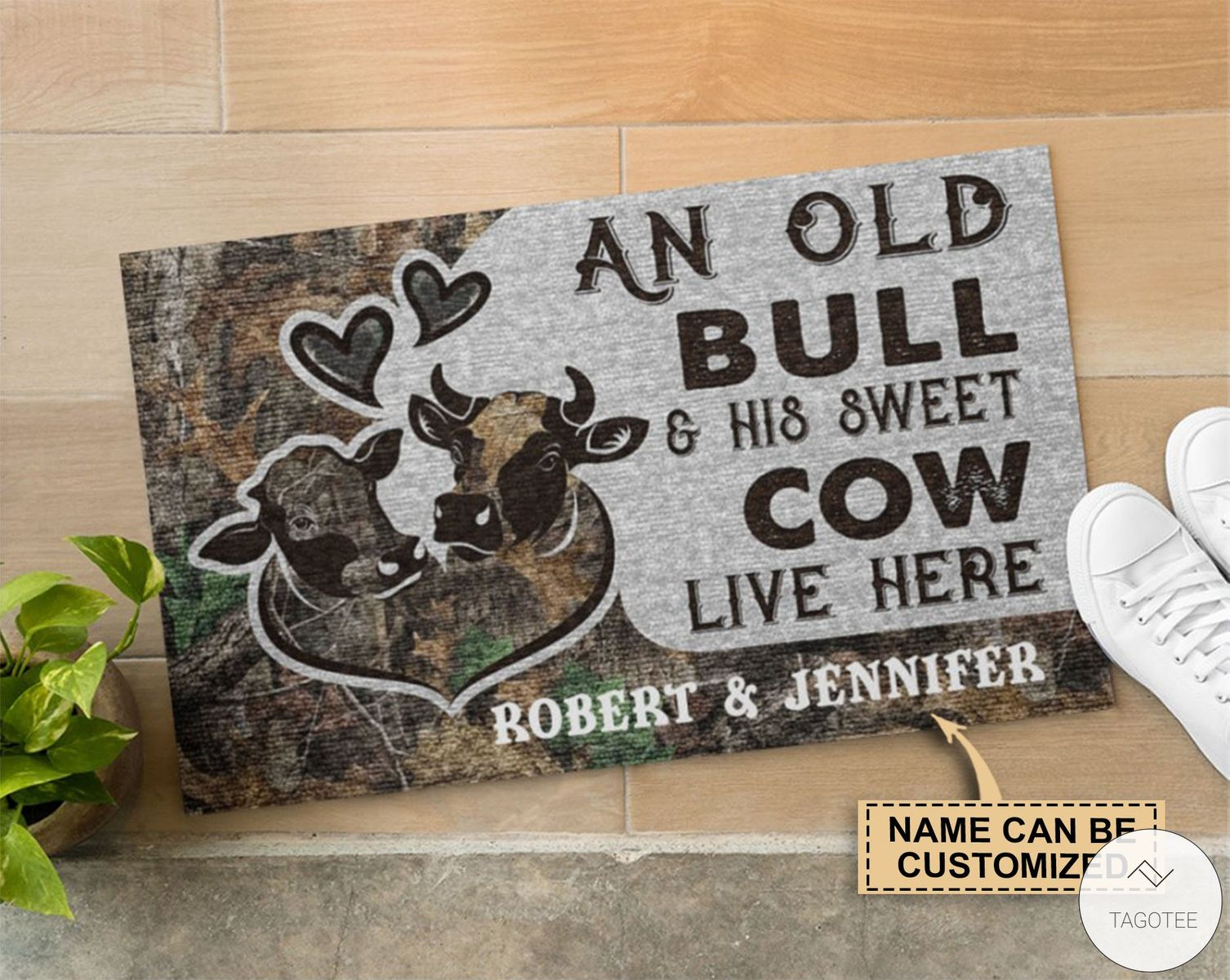 Personalized An Old Bull And His Sweet Cow Live Here Doormatz