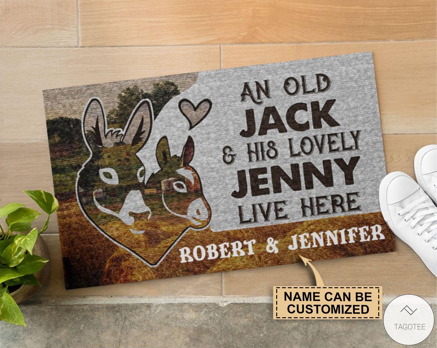 Personalized An Old Jack Lovely Jenny Live Here Donkey Doormatz