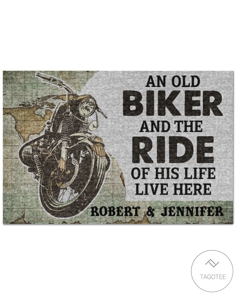 Personalized An old biker and the ride of his life live here doormat_result