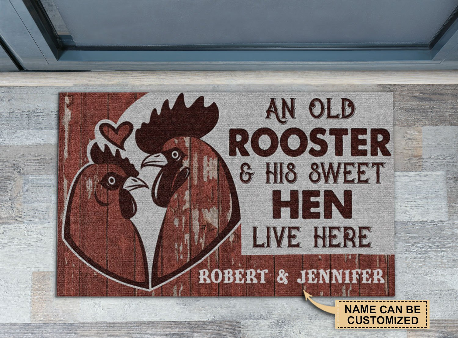 Personalized An old rooster and his sweet hen live here doormat