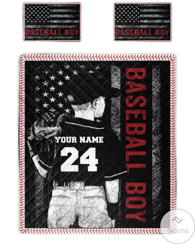 Best Gift Personalized  Baseball Boy Quilt Bedding Set