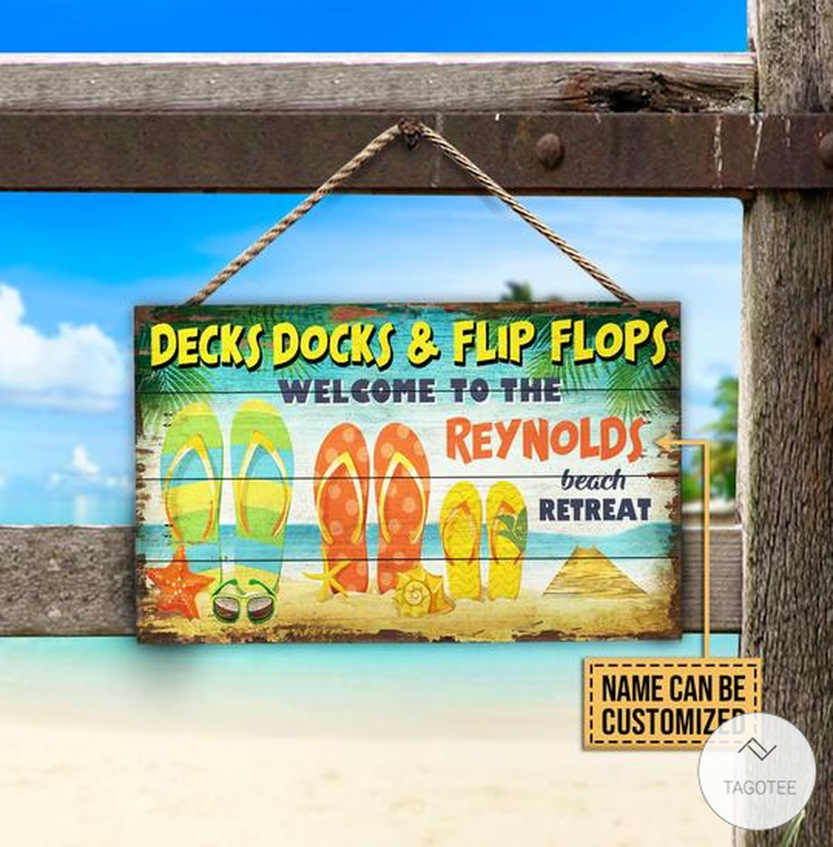 Personalized Beach Decks Docks And Flip Flops Welcome To The Beach Retreat Rectangle Wood Sign