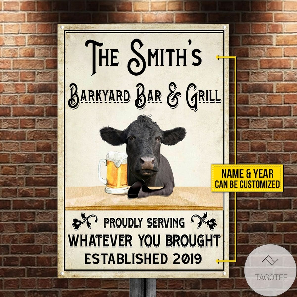 Personalized Black Angus Cattle Proudly Serving Whatever You Brought Metal Sign