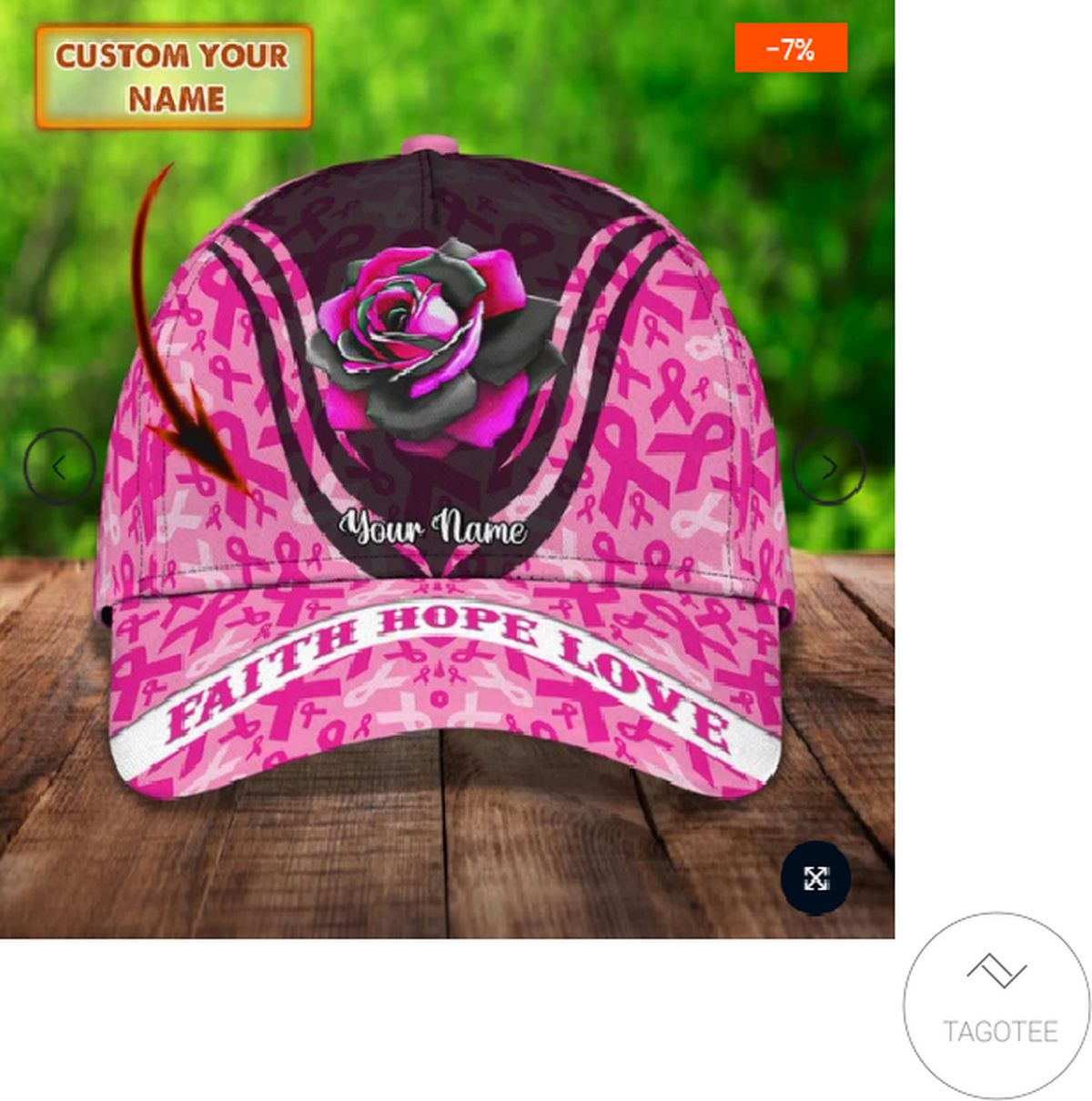 Personalized Breast Cancer Awareness Faith Hope Love Rose Cap
