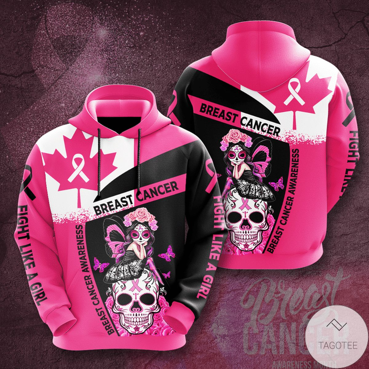 Personalized Breast Cancer Awareness Flag Canada 3d Hoodie