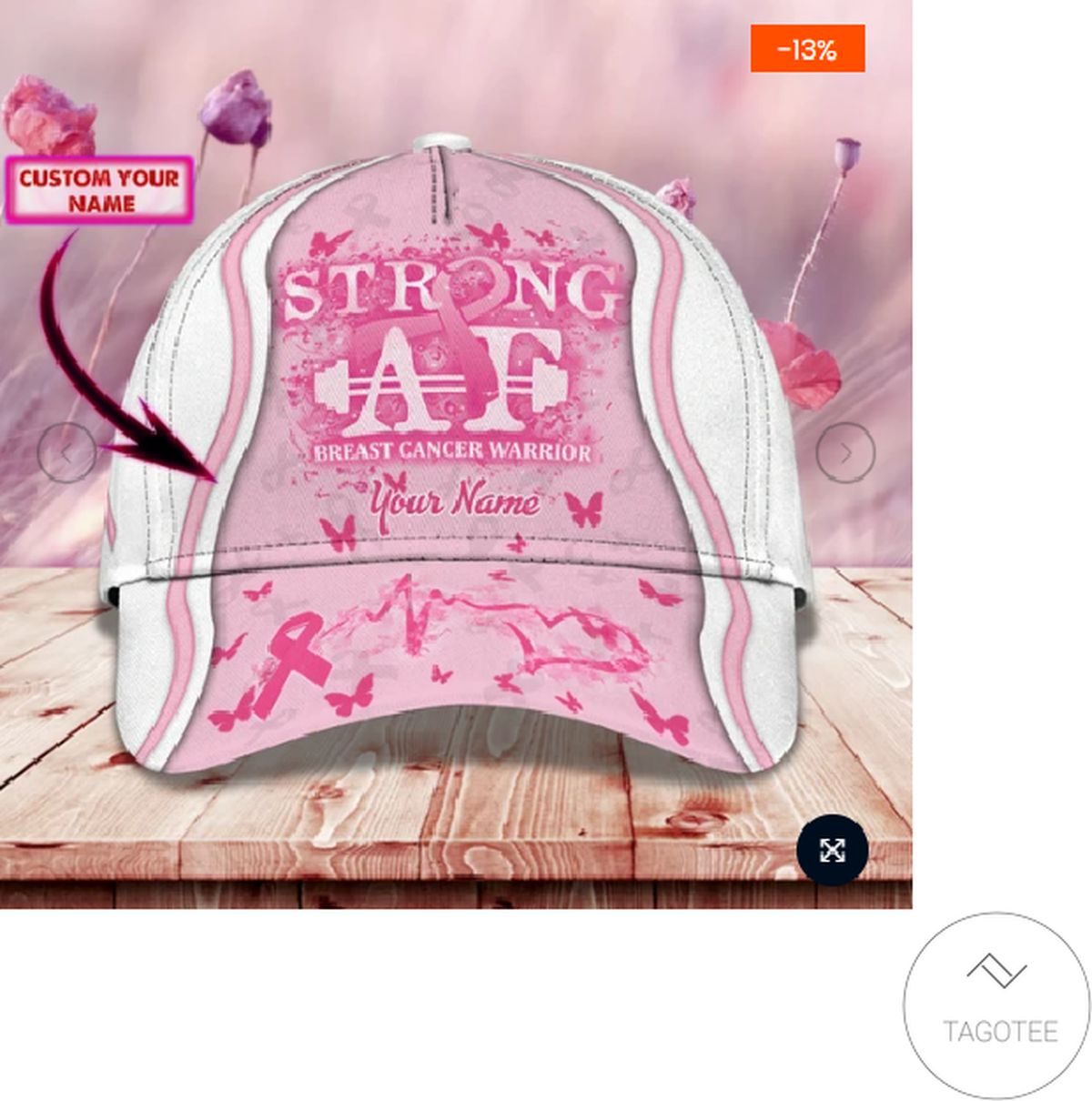 Personalized Breast Cancer Awareness Strong Af 3d Cap
