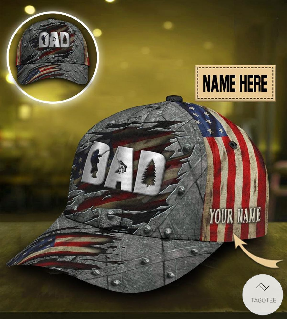 Personalized Camouflage Fishing Dad Cap