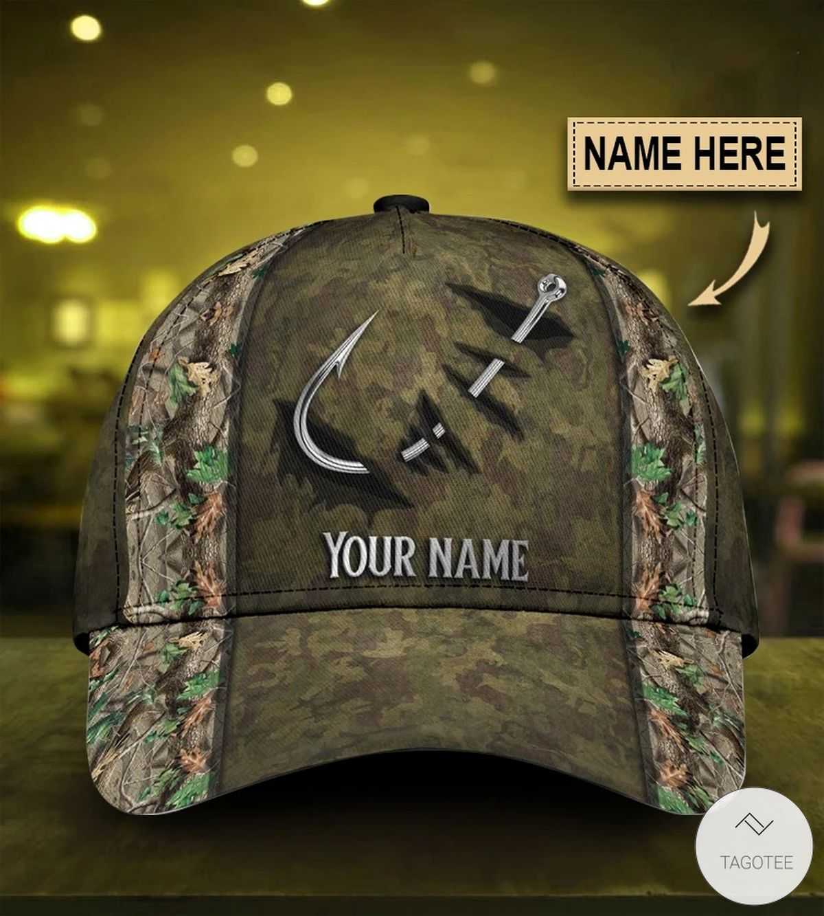 Personalized Camouflage Fishing Hook Cap   Tagotee
