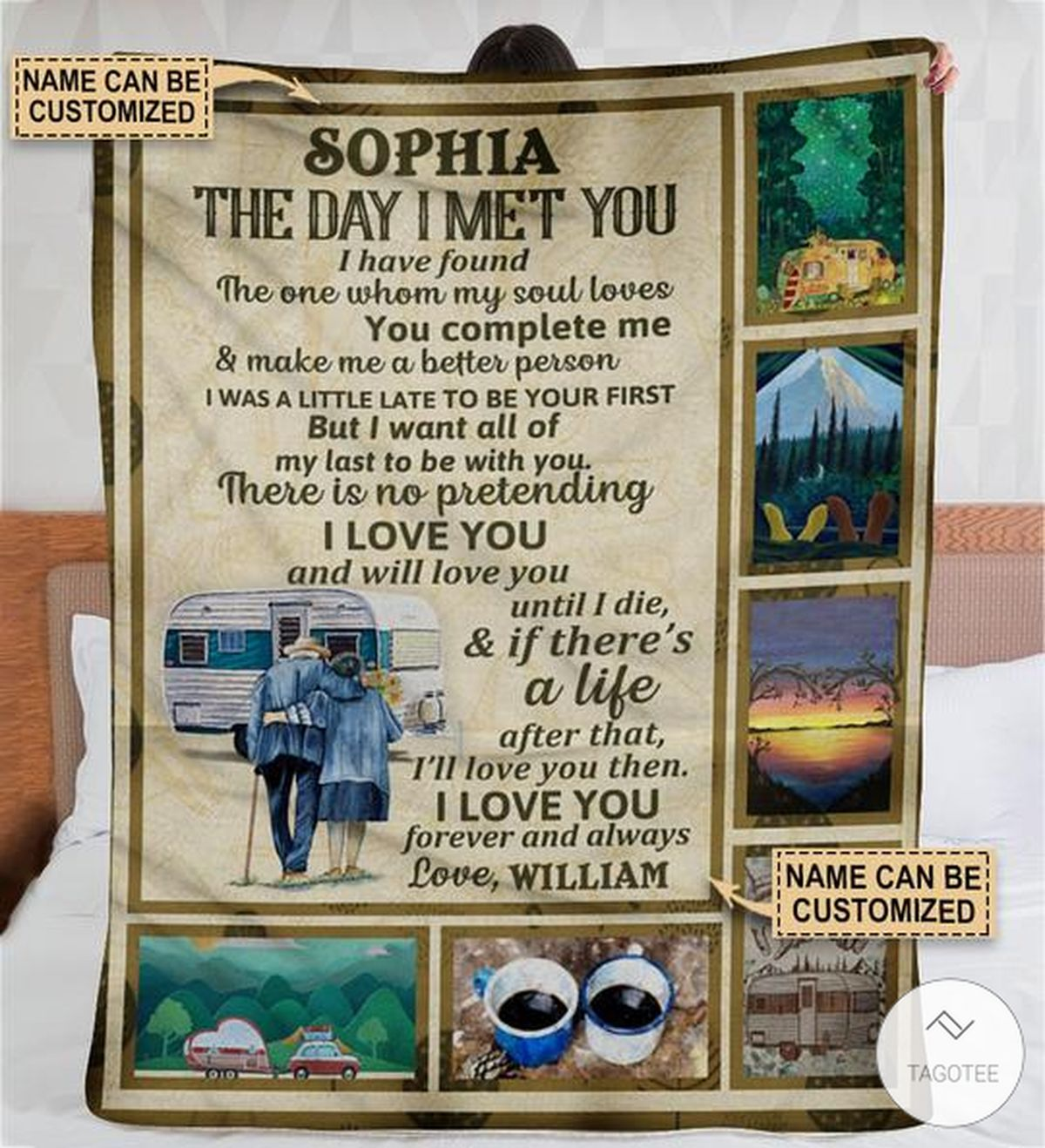 Personalized Camping Collage The Day I Met You Fleece Blanket