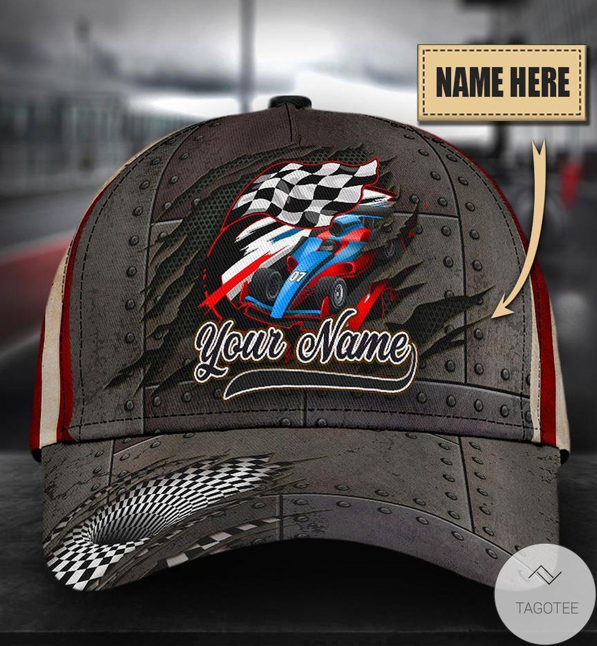 Personalized Car Racing With Flag Cap