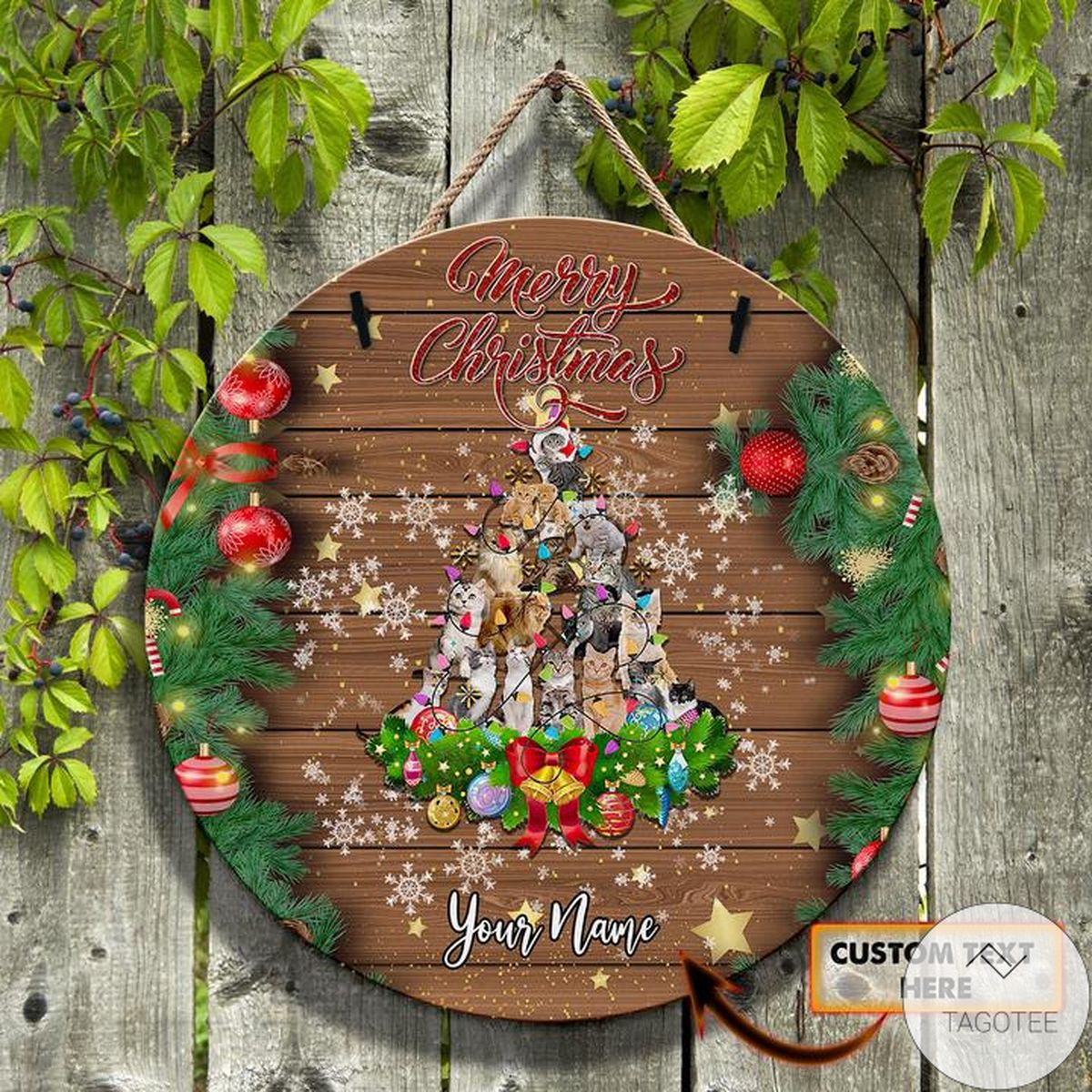 Personalized Christmas Tree Of Pets Round Wooden Sign