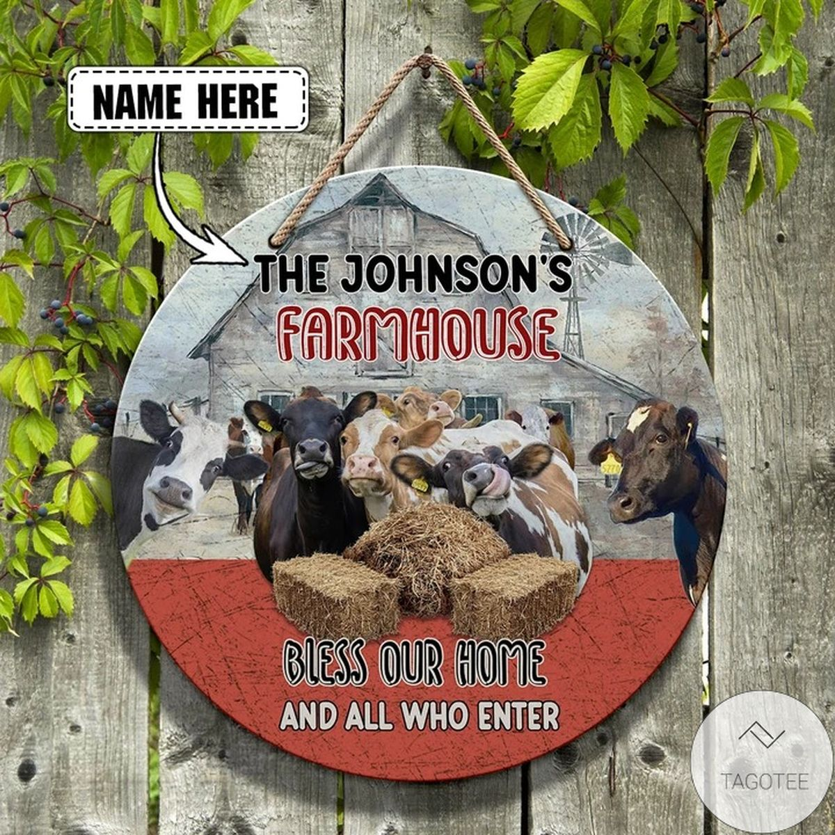Personalized Cow Farm Bless Our Home And All Who Enter Custom Wooden Sign