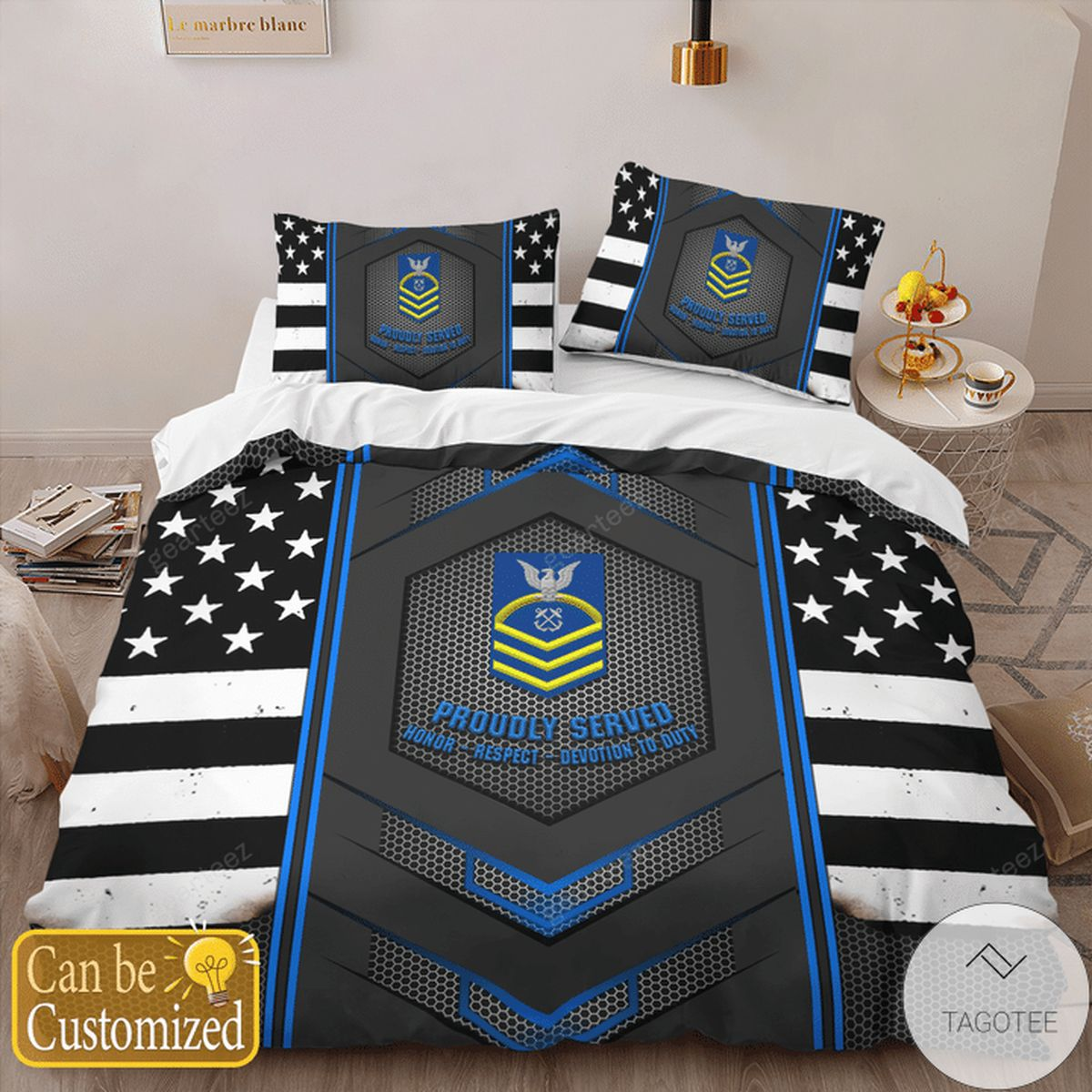 Personalized Custom Rank Proudly Served - Coast Guard Veteran Bedding Set