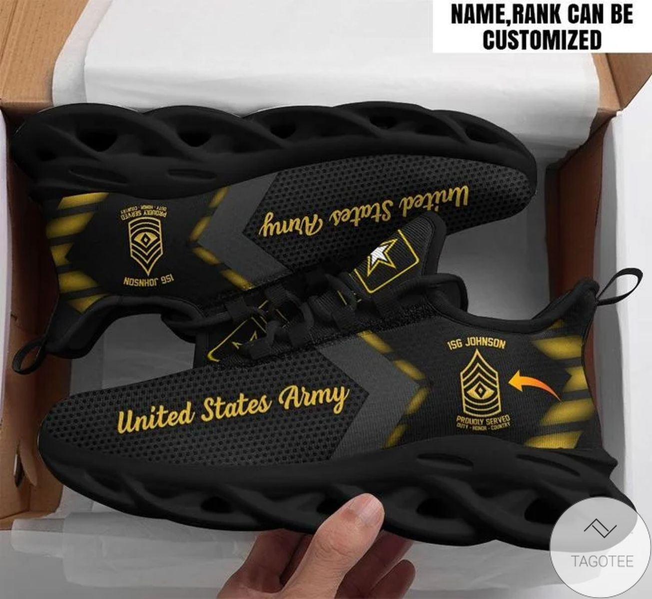 Personalized Customized Name And Rank US Army Sneaker Max Soul Shoes