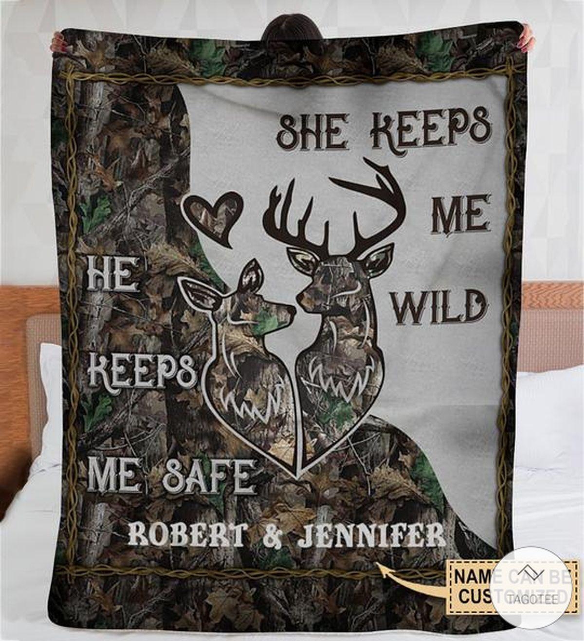 Personalized Deer Camo He Keeps Me Safe She Keeps Me Wild Fleece Blanket