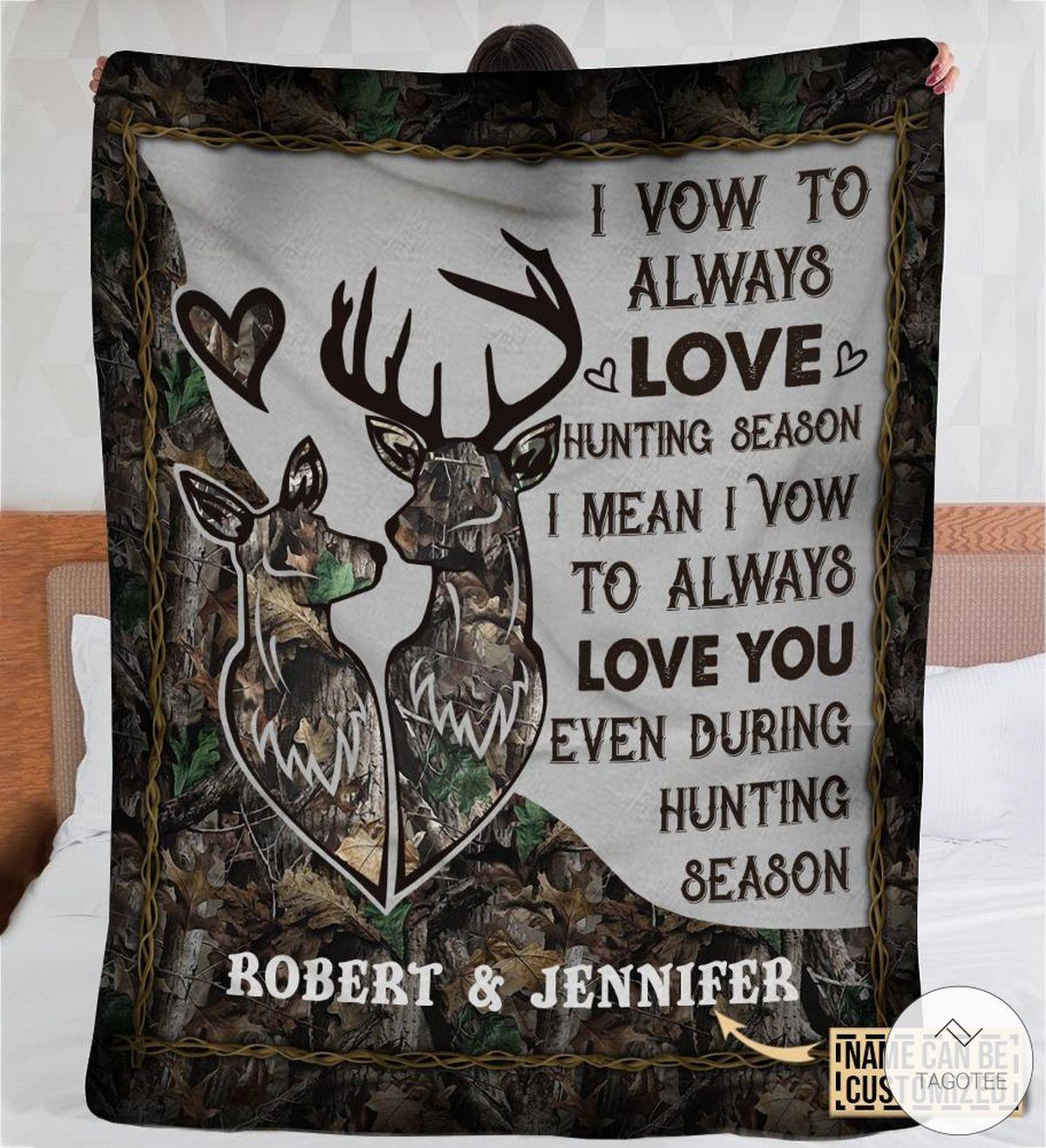 Personalized Deer Couple I Vow To Always Love Hunting Season Fleece Blanket