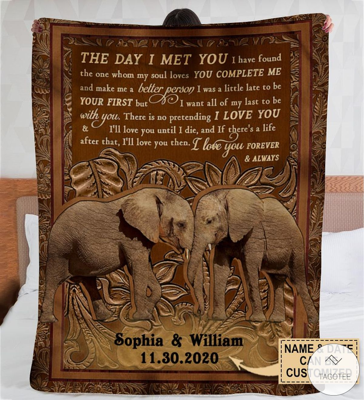 Personalized Elephant The Day I Met You I Have Found The One Whom My Soul Loves Fleece Blanket