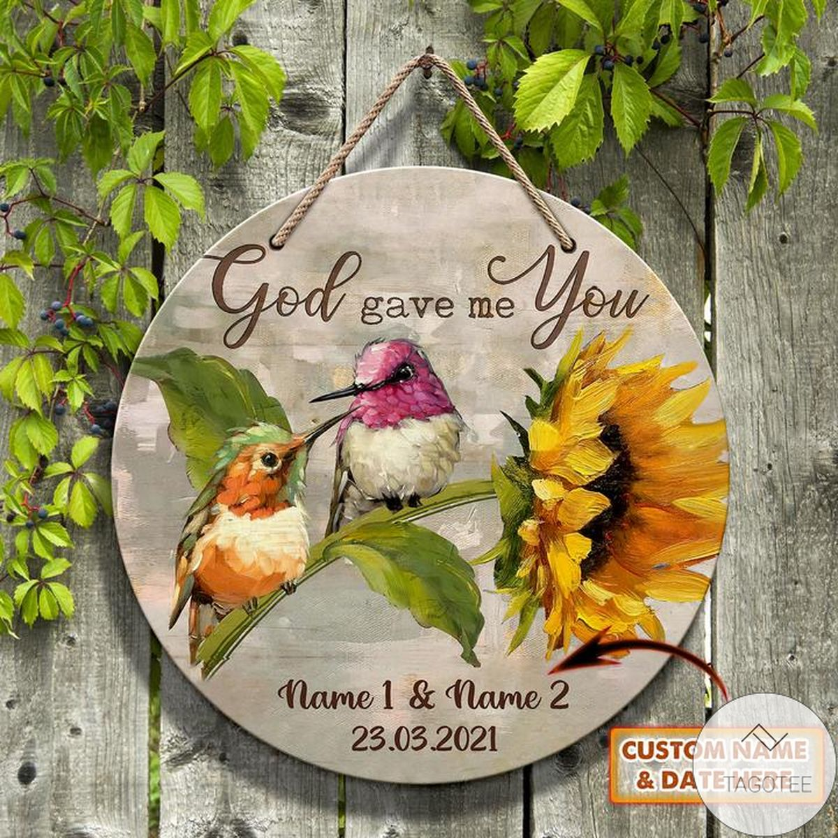 Personalized God Gave Me You Round Wooden Sign