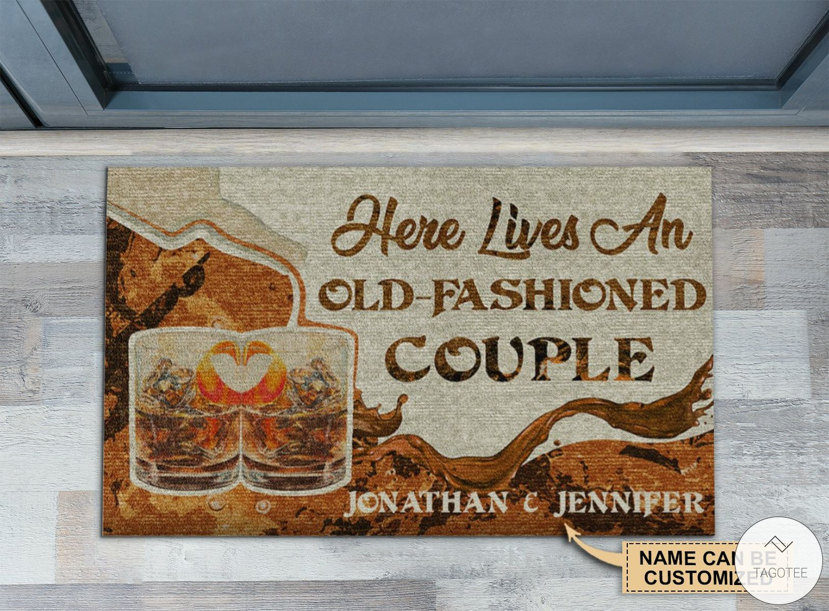 Personalized Here Lives An Old-Fashioned Couple Doormat