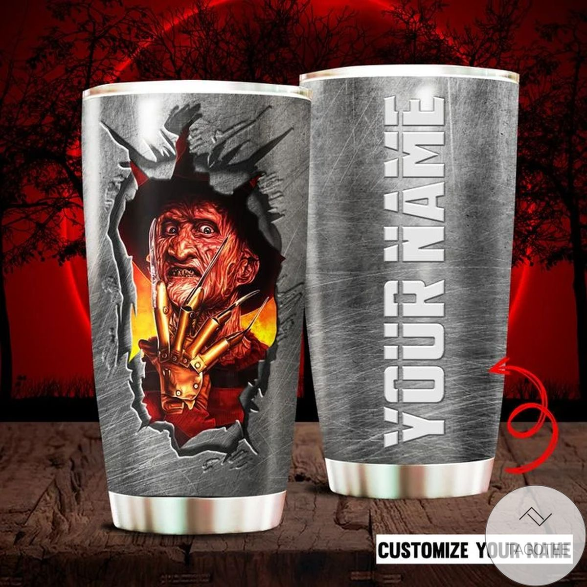 Personalized Horror Movie Character Freddy Krueger Tumbler
