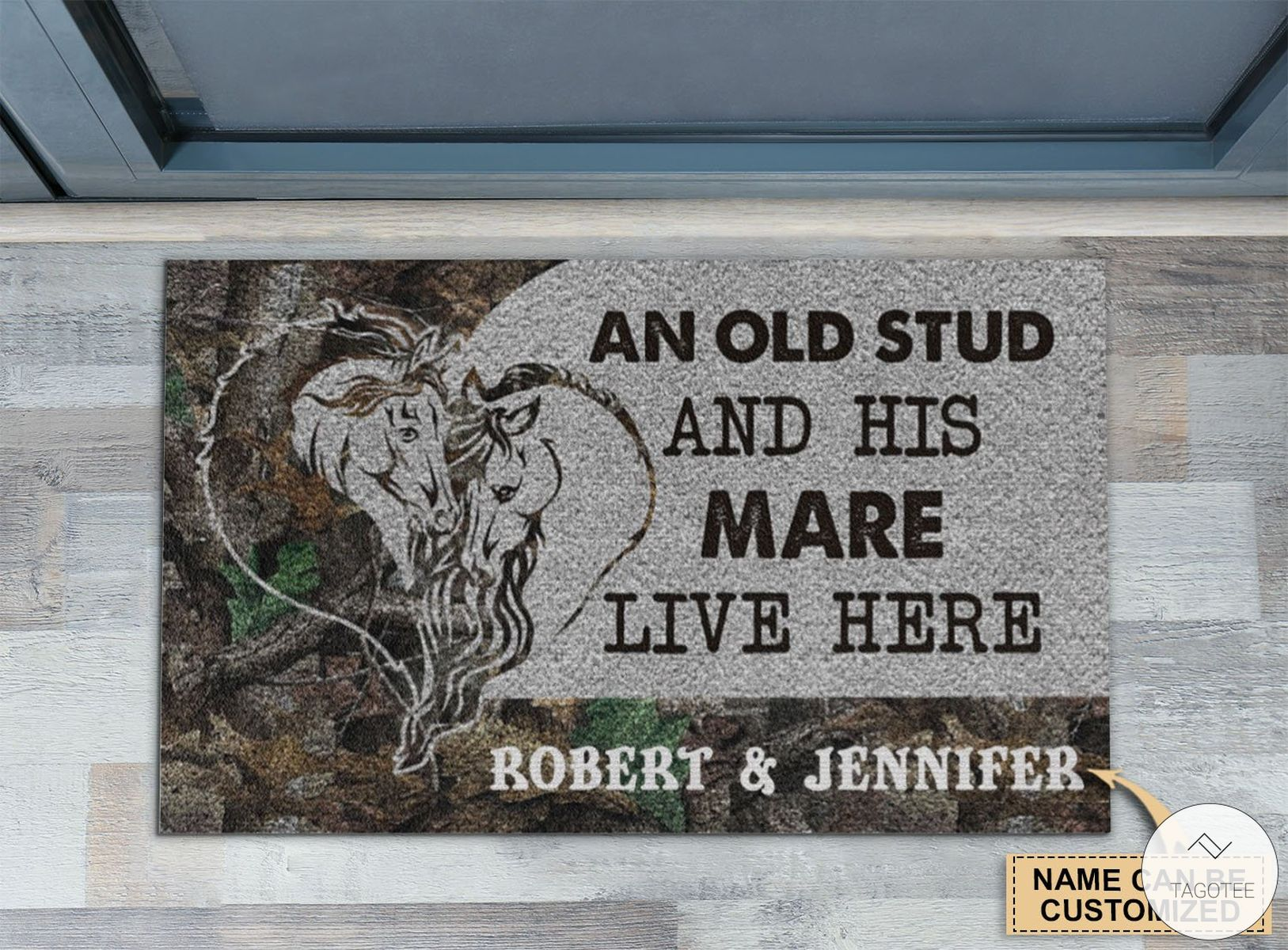 Personalized Horse An Old Stud And His Mare Live Here Doormat