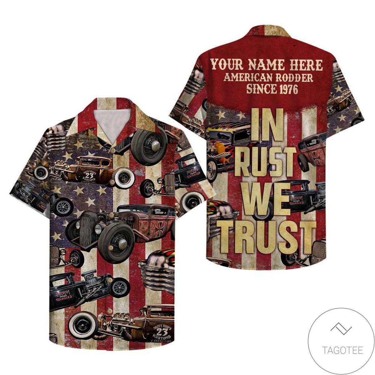 Personalized Hot Rod In Rust We Trust Custom Hawaiian Shirt