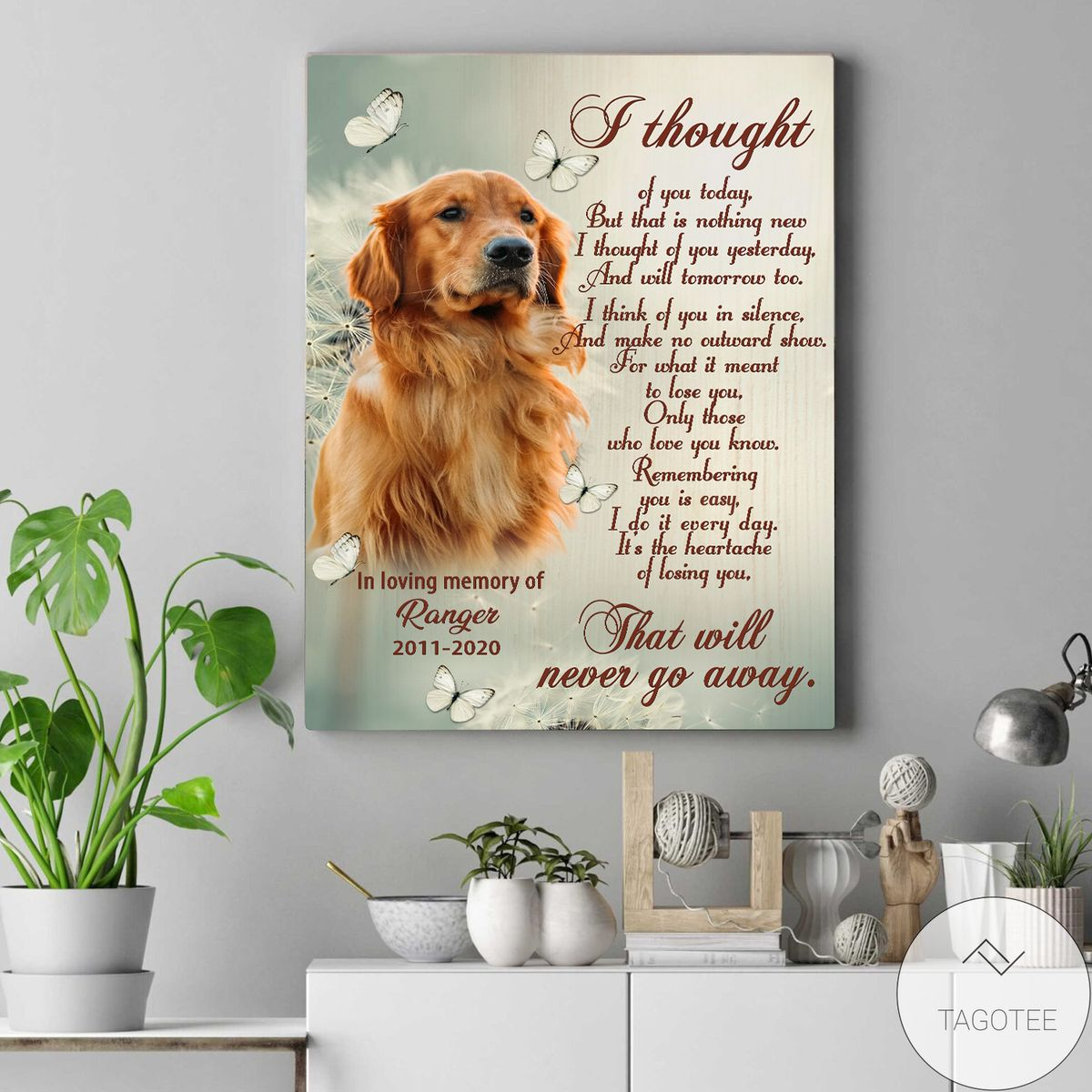 Amazon Personalized I Thought Of You Today Pet Memorial Canvas