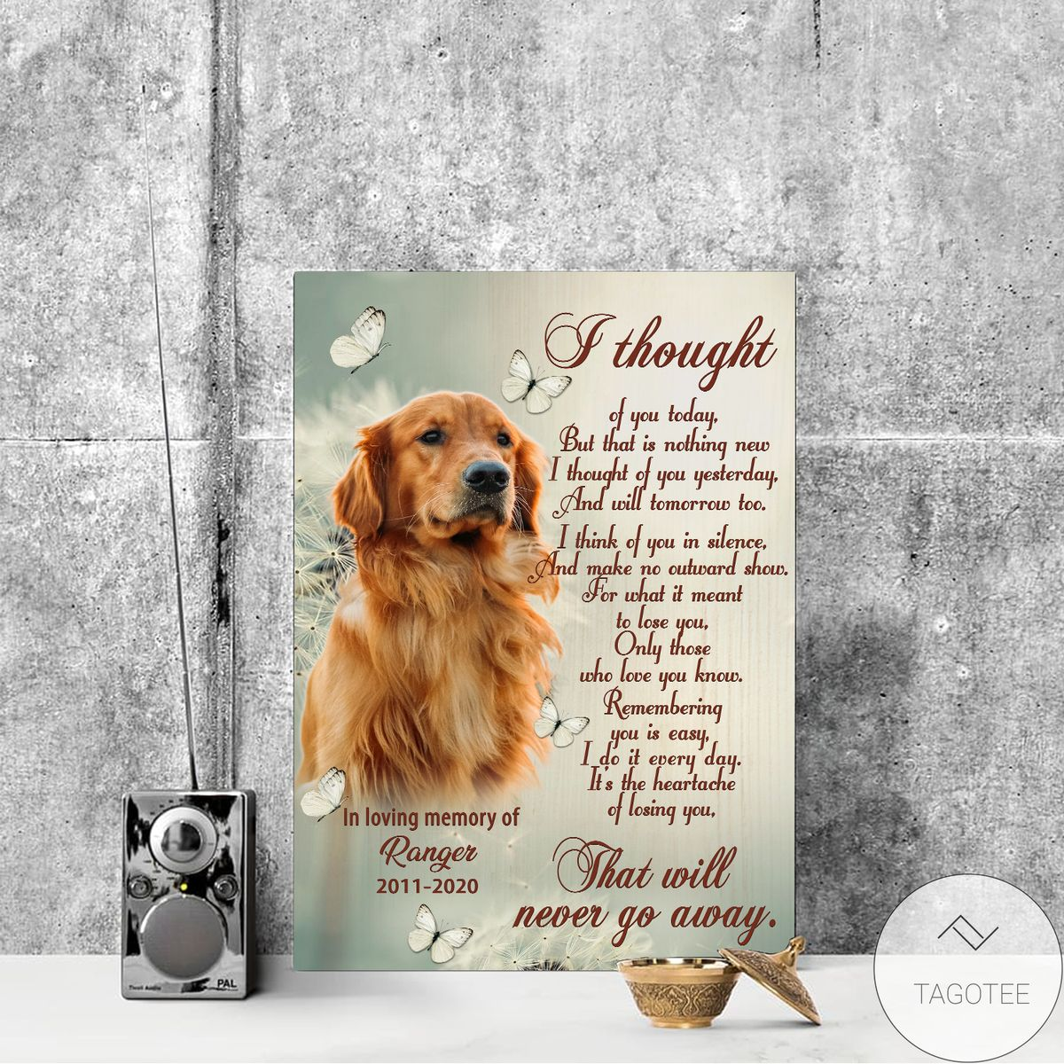 Awesome Personalized I Thought Of You Today Pet Memorial Canvas