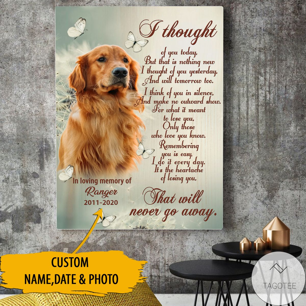 Free Personalized I Thought Of You Today Pet Memorial Canvas