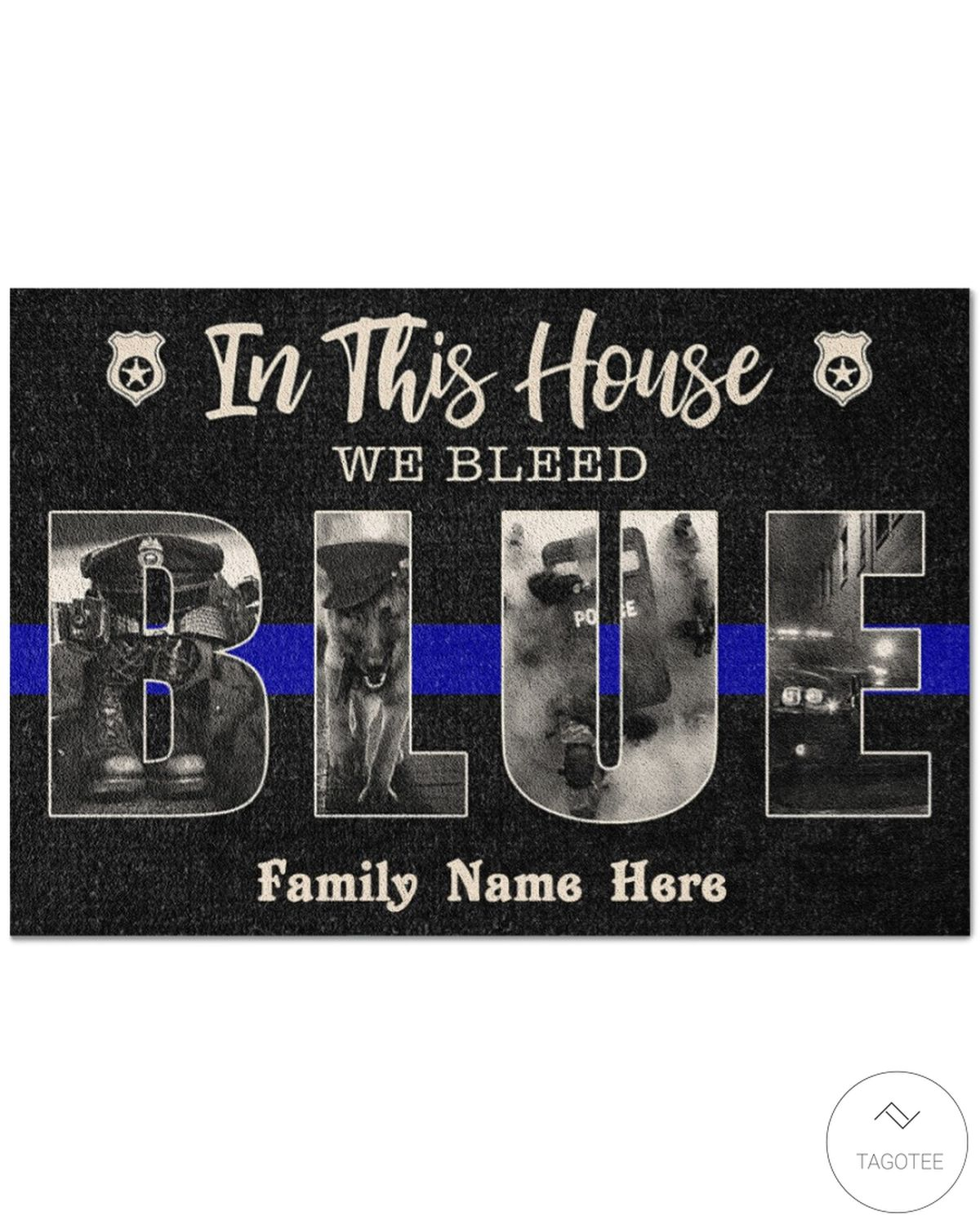 Personalized In This House We Bleed Blue Police Doormat