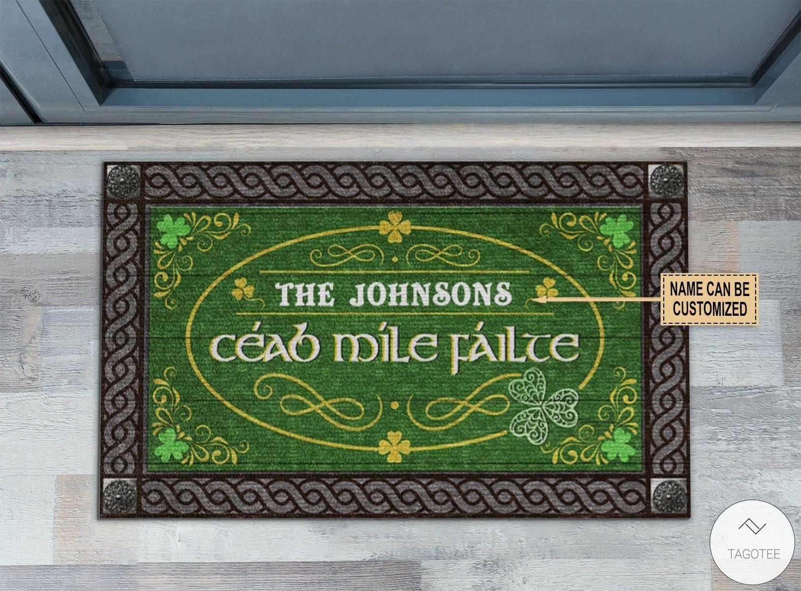 Personalized Irish Céad míle fáilte Doormat