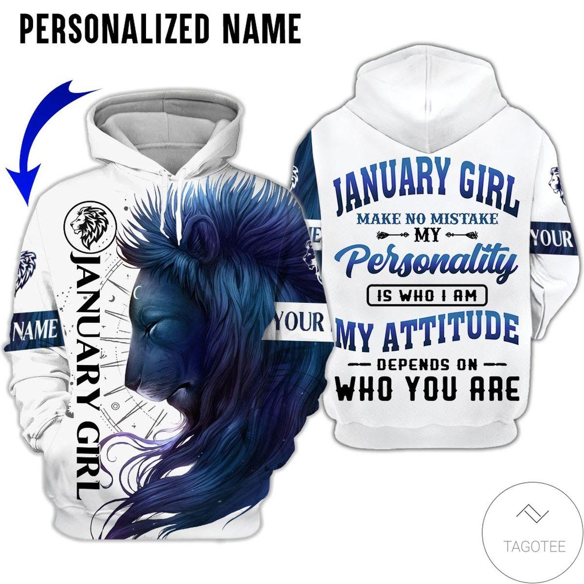 Personalized January Girl Make No Mistake Lion Hoodie