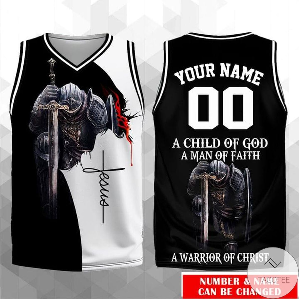 Personalized Jesus A Child Of God A Man Of Faith A Warrior Of Christ Jersey Tank Top