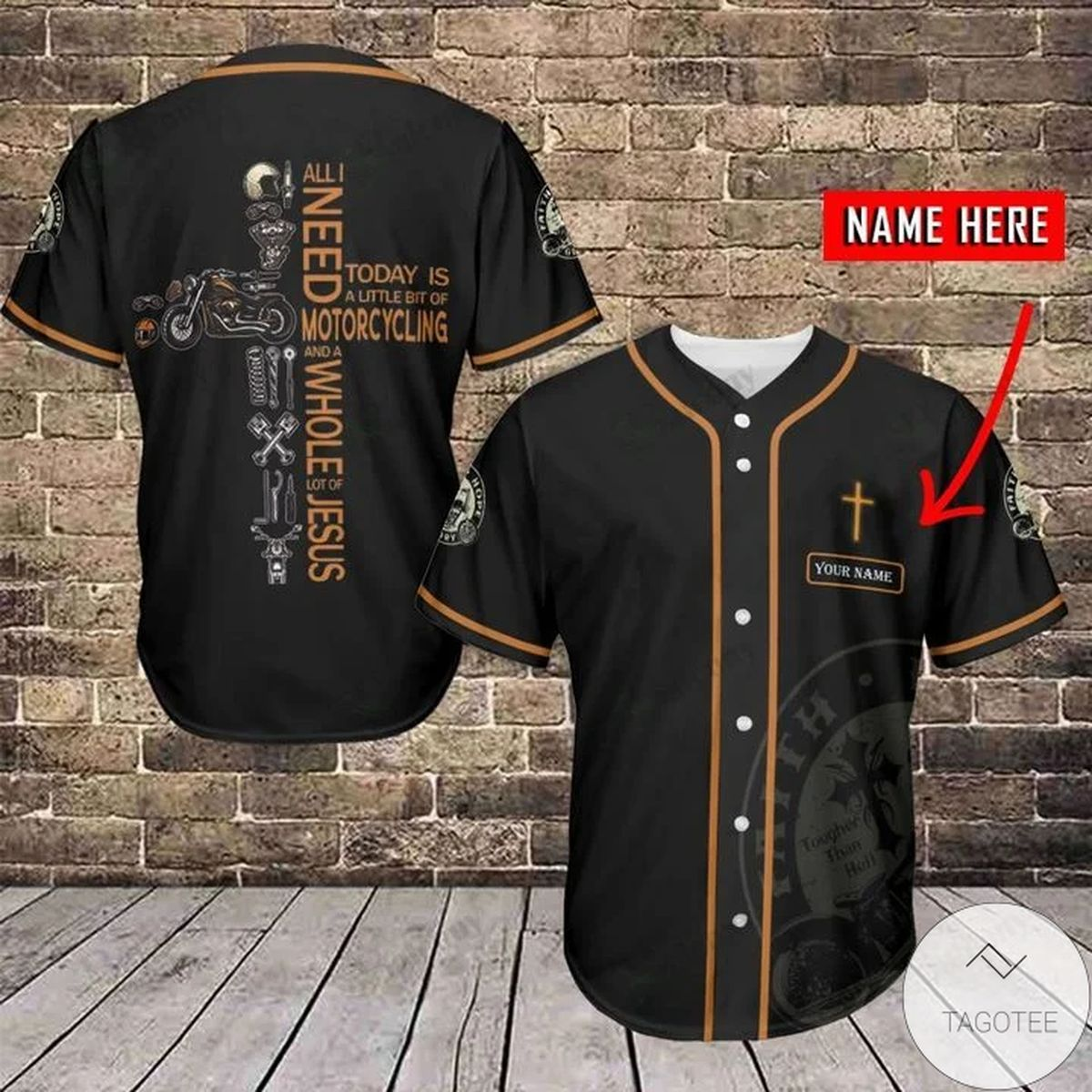 Personalized Jesus All I Need Today Is A Little Bit Of Motorcycling Baseball Jersey