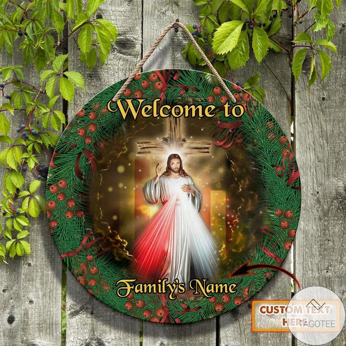 Personalized Merry Christmas Jesus Christ Round Wooden Sign