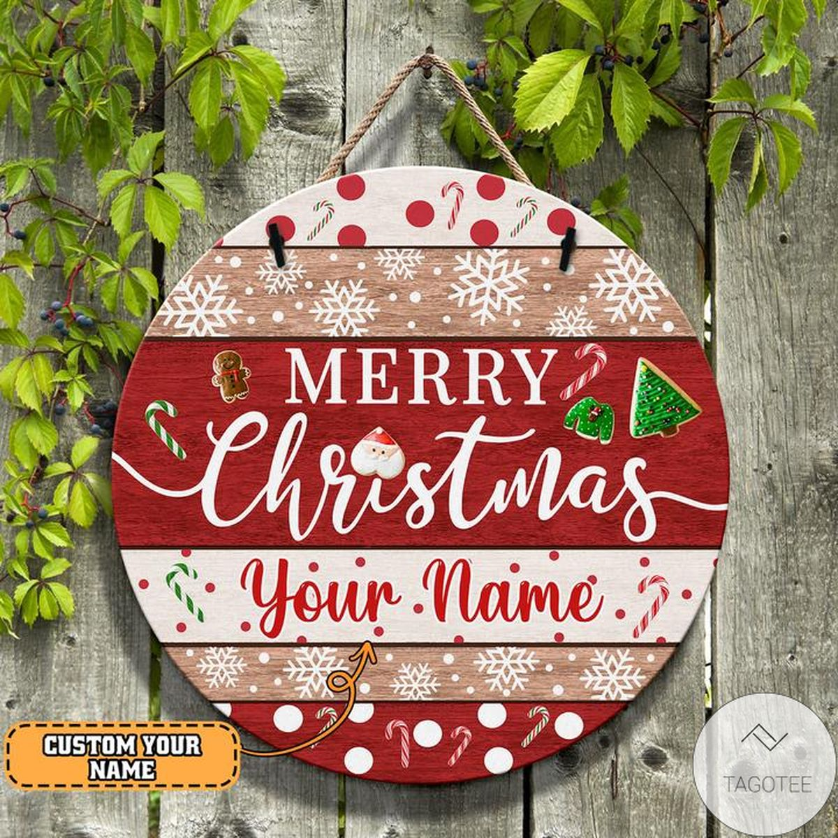 Awesome Personalized Merry Christmas Round Wooden Sign