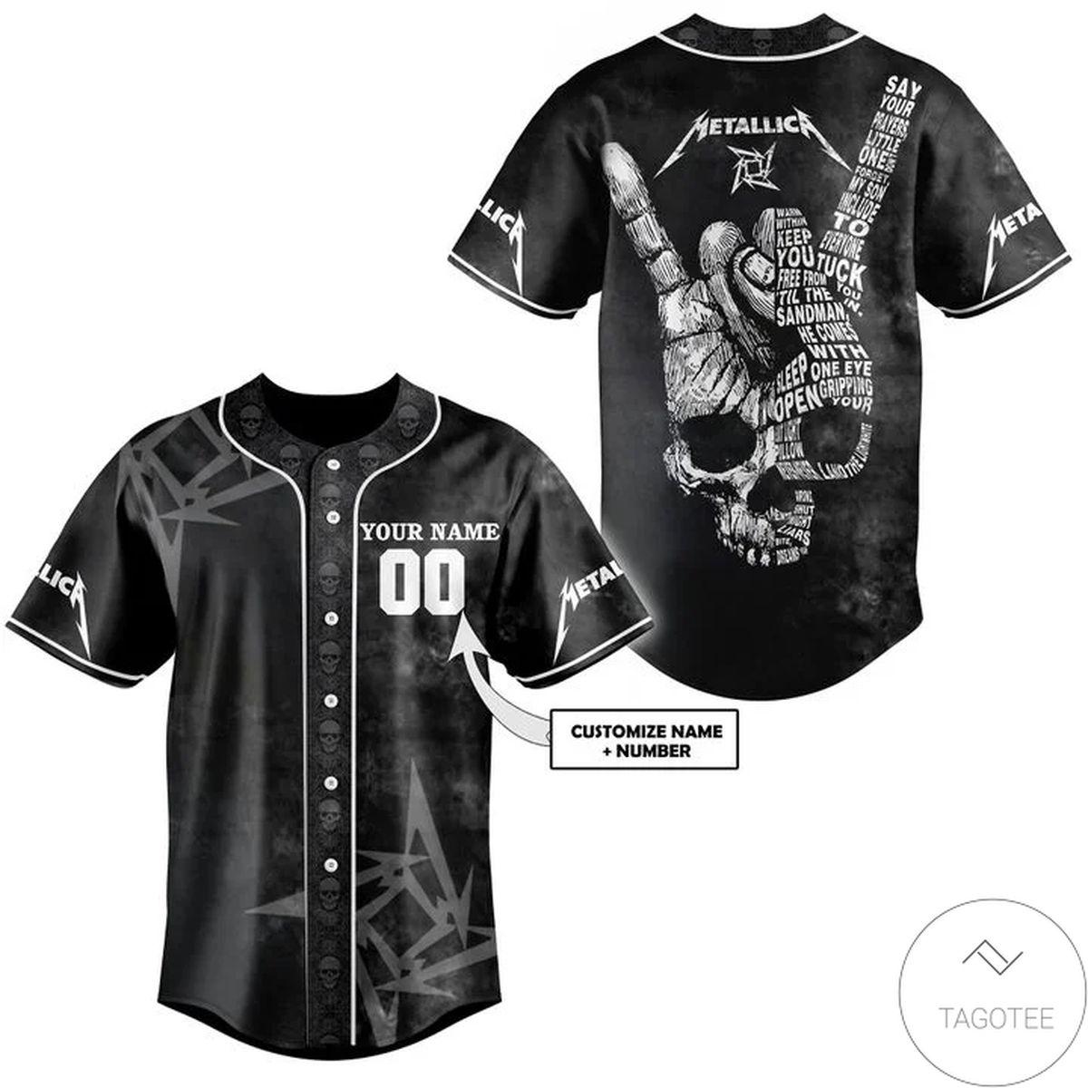 Personalized Metallic Skull Rock N Roll Baseball Jersey