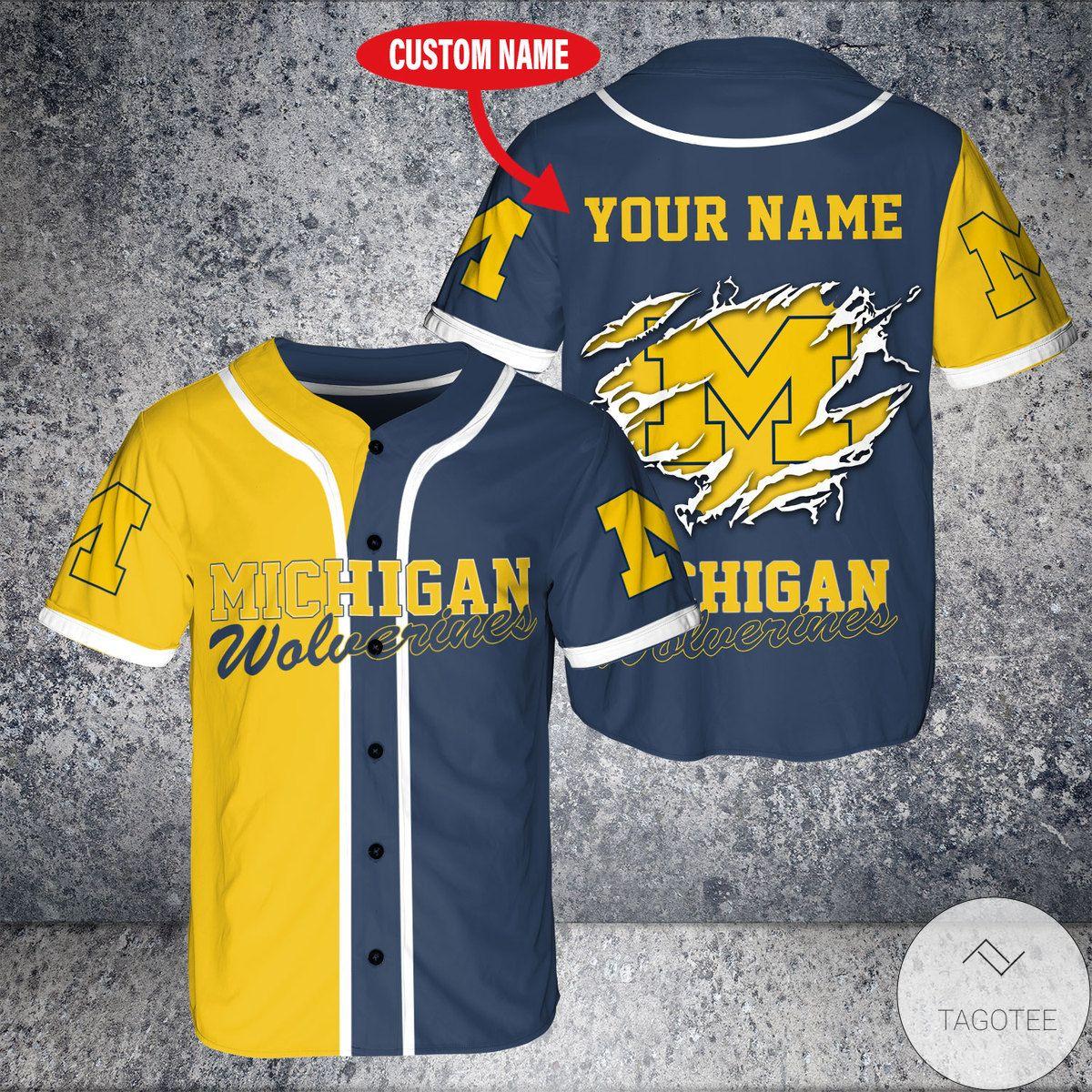Personalized Michigan Wolverines Baseball Jersey Shirt