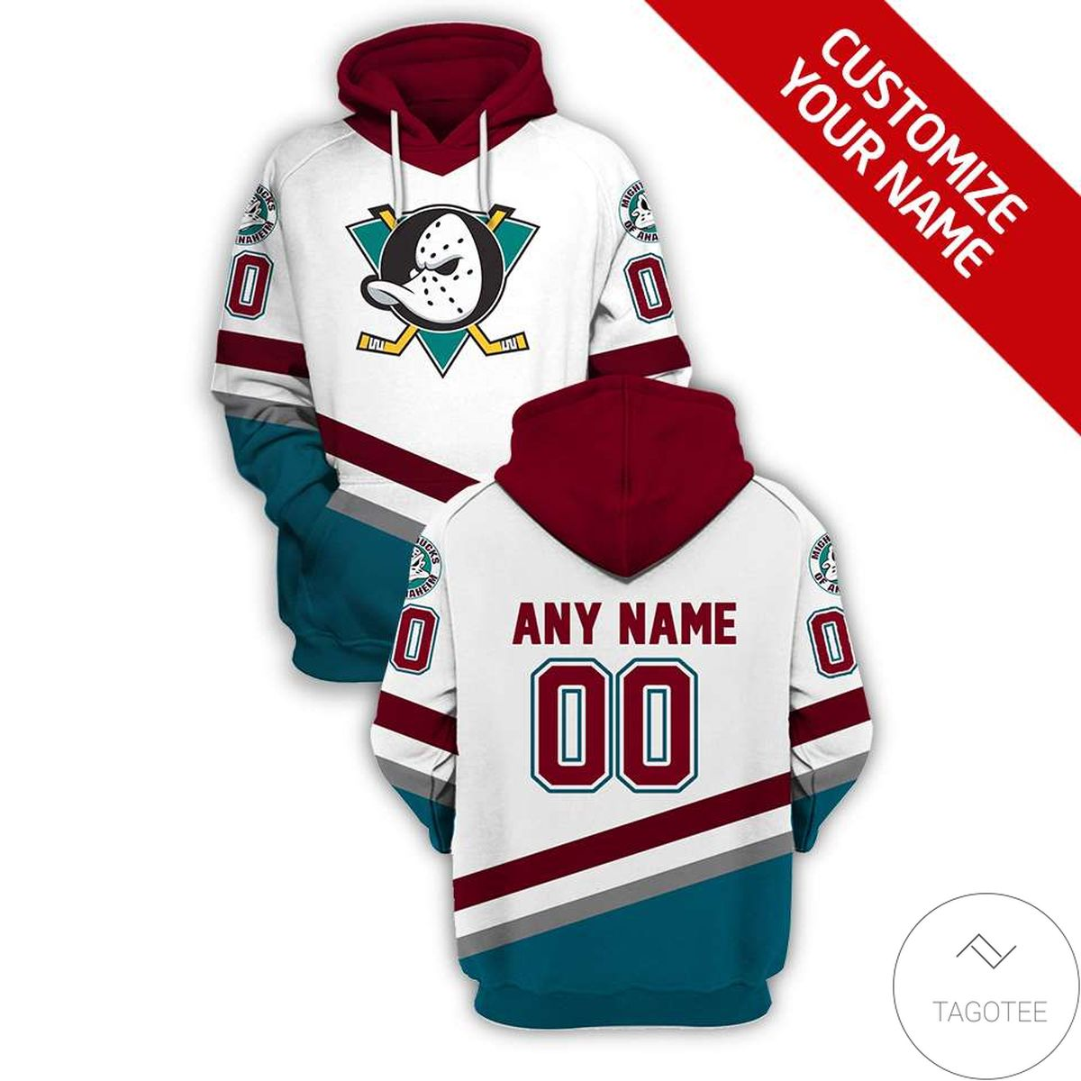Personalized Name And Number Anaheim Ducks Branded Team 3d Hoodie