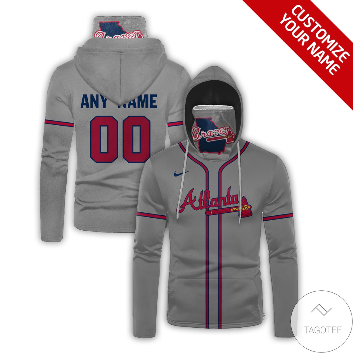 Personalized Name And Number Atlanta Braves Gaiter Mask Hoodie