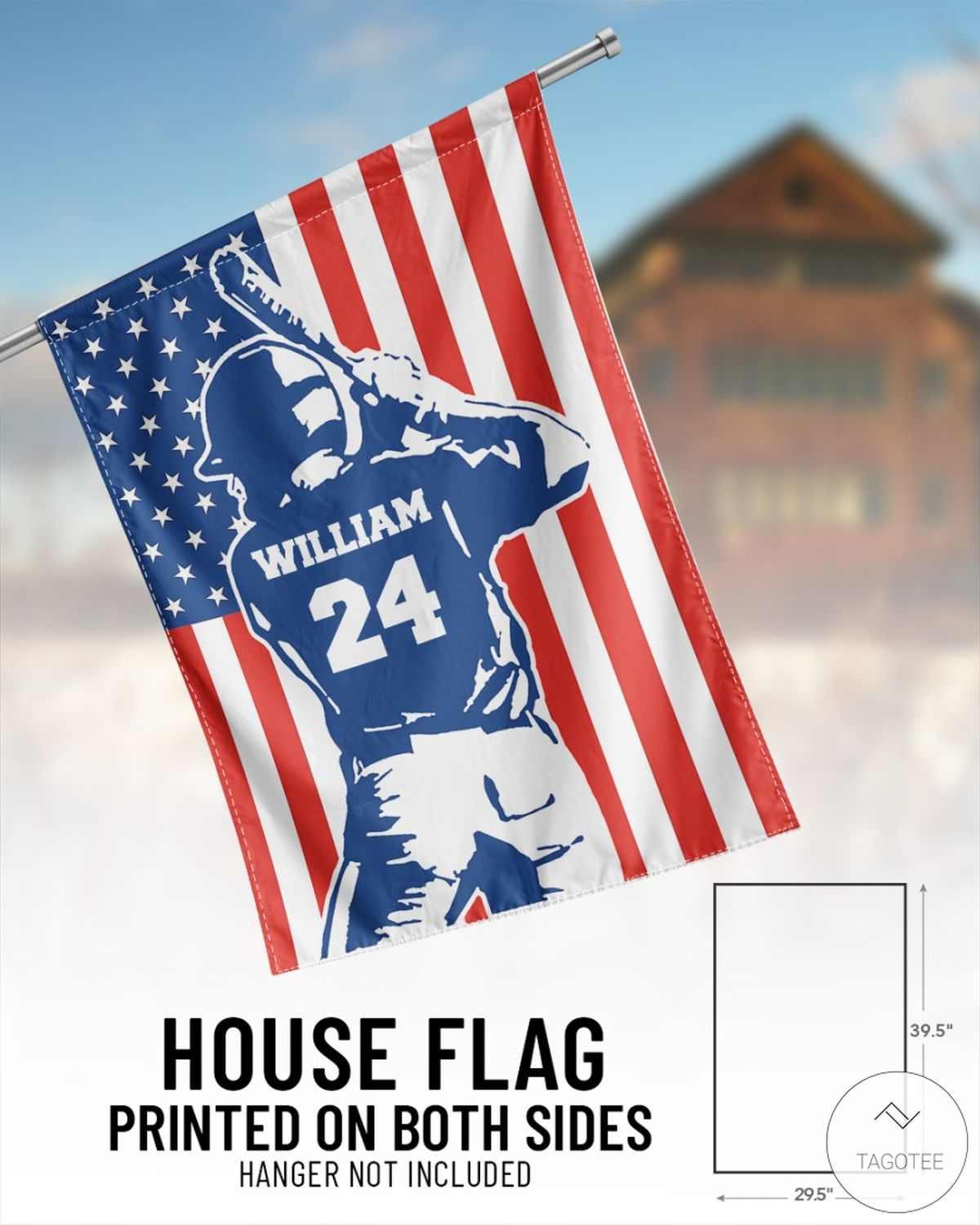 Personalized Name And Number Baseball USA House Flagz