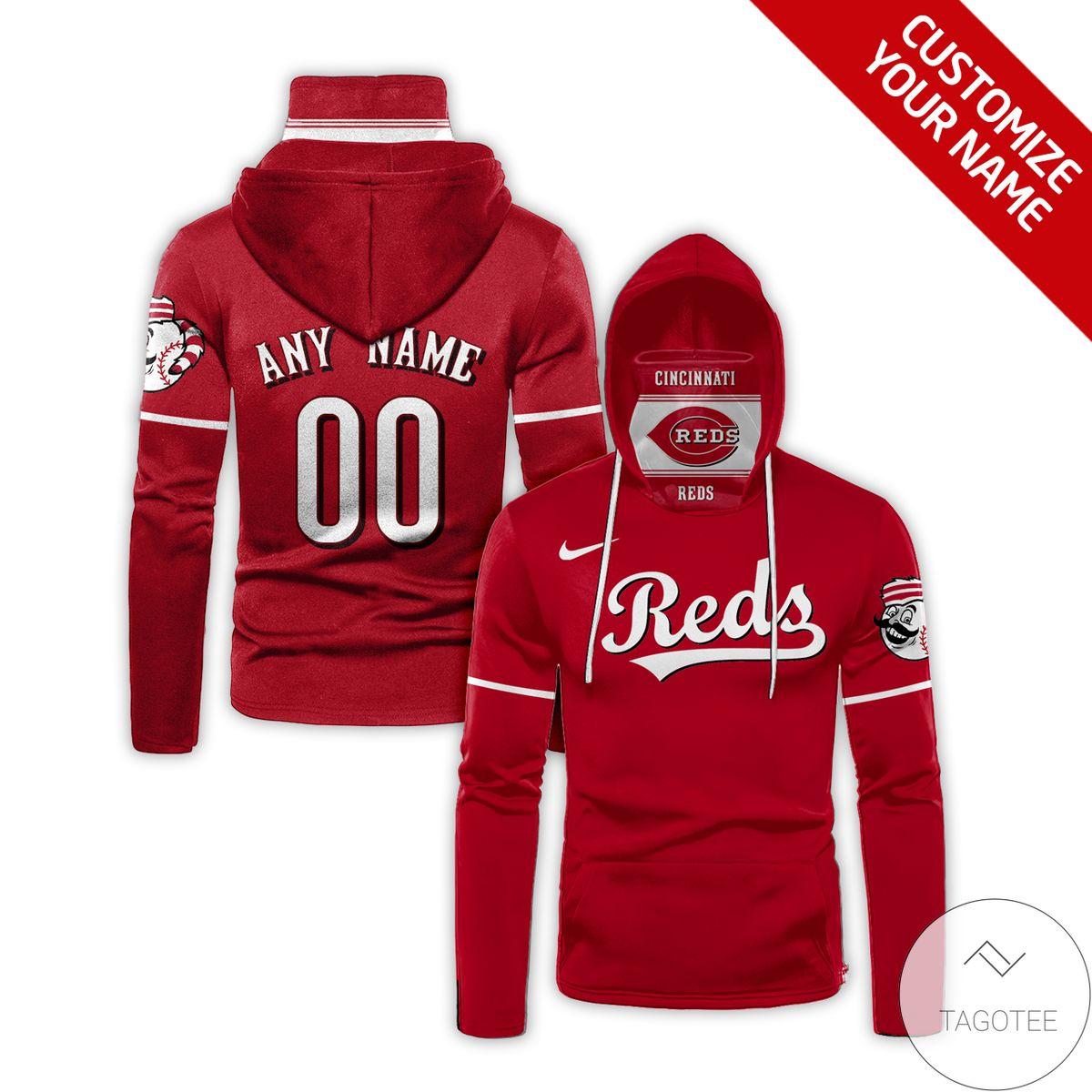 Personalized Name And Number Cincinnati Reds Gaiter Mask Hoodie