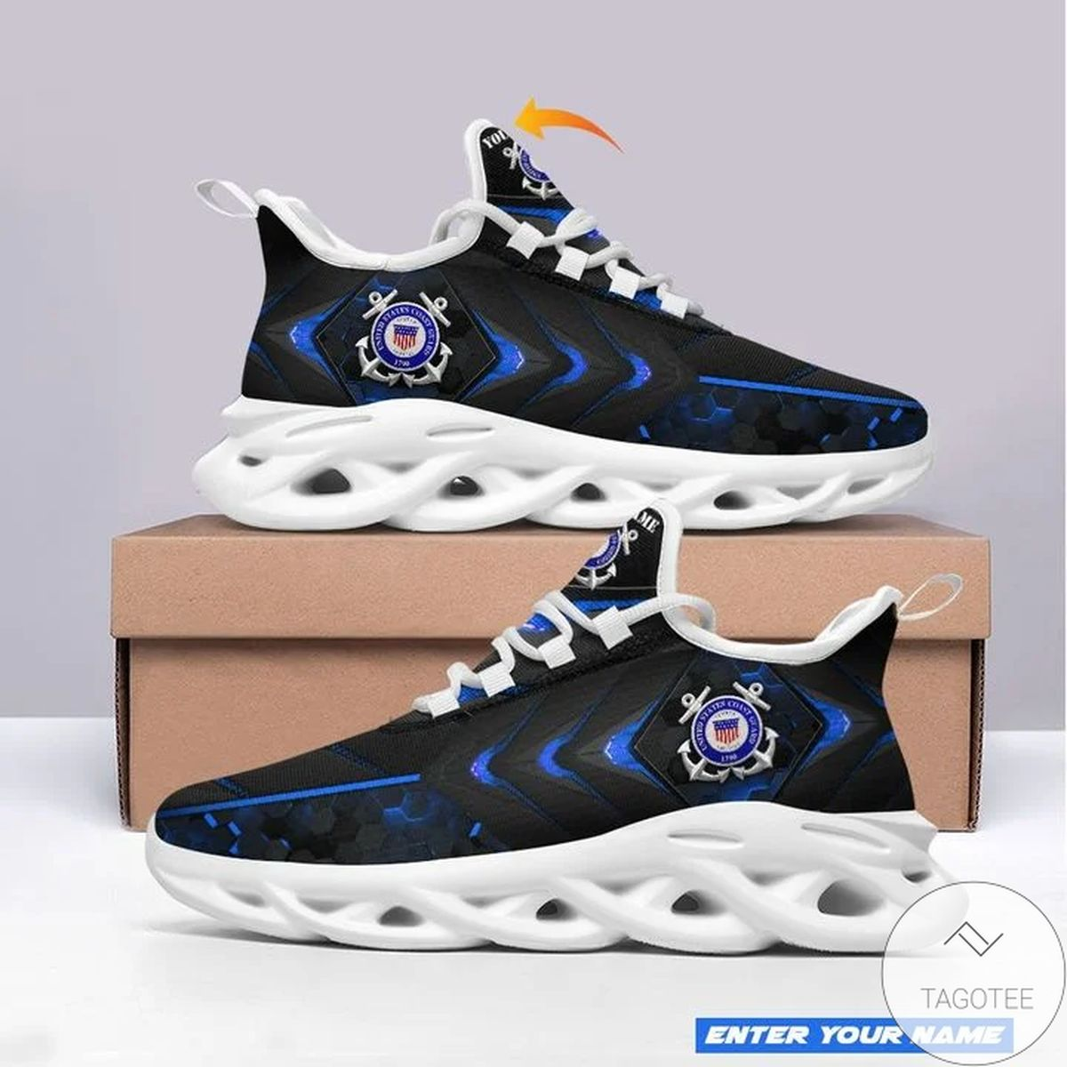 Personalized Name US Coast Guard Sneaker Max Soul Shoes