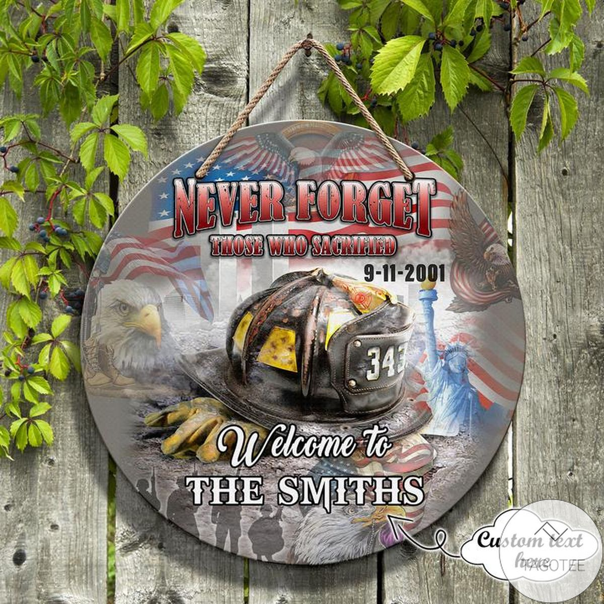 Personalized Never Forget Those Who Are Sacrificed Patriotism Round Wooden Sign