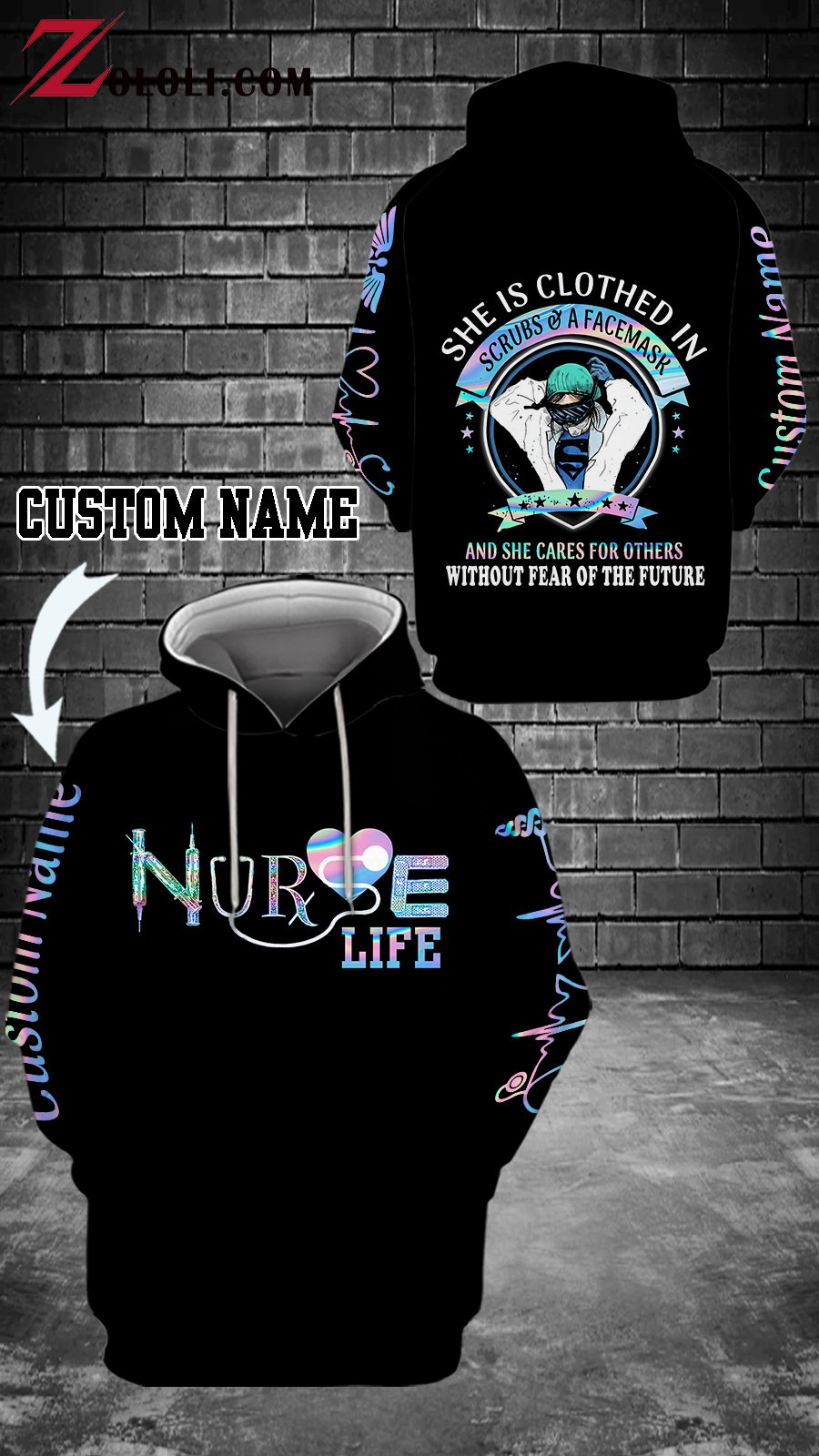 Personalized Nurse life She is clothed in scrubs and a face mask 3D hoodies